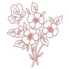 Redwork Dancing Butterfly embroidery design Border Embroidery Designs, Butterfly Embroidery, Embroidery Transfers, Diy Embroidery, Machine Embroidery Designs, Embroidery Stitches, Flower Art Drawing, Hand Quilting Patterns, Bordado Floral