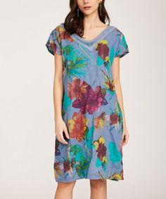 65c1962b4446 Ornella Paris   Blue Floral Lace-Neck Linen V-Neck Dress - Women & Plus