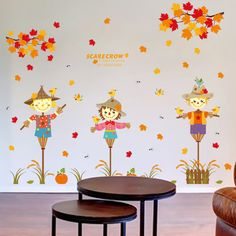 Cute Cartoon Scarecrow Wall Sticker For Children Rooms Autumn Theme Stickers Muraux Home Decor Supplies