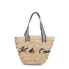 Right side: Braided straw Fine cotton lining Large handles to carry it as a shoulder bag Perfect item to put away beach essentials Be stylish at the seaside with this basket especially designed for the beach Inside pocket Embroidered letters Size: Width 30 x Height 26 cm - $ 60