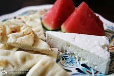 Jordanian Snack: Goat Cheese, pita bread and water melon ..