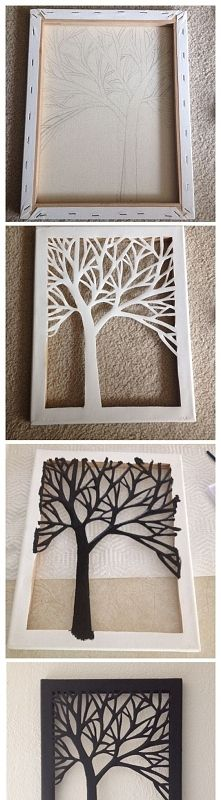 DIY Cut Canvas Tree Art - DIY Cut Canvas Tree Art You are in the right place about diy surgical mask free pattern Here we off - Creative Crafts, Fun Crafts, Diy And Crafts, Arts And Crafts, Paper Crafts, Diy Paper, Decor Crafts, Wood Crafts, Creative Ideas