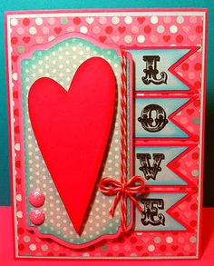 """LOVE!! Made using Jaded Blossom """"Valentine Treats"""" stamp set for the LOVE down the side."""