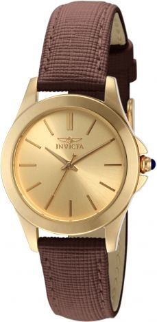 Invicta Women's 15150 Angel Yellow Gold Ion-Plated Stainless Steel and Brown Leather Watch – Shopping Guide Brown Leather Strap Watch, Leather Watch Bands, Quartz Watch, Fashion Watches, Gold Watch, Watches For Men, Wrist Watches, Stainless Steel, Invicta Angel