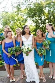 use diff shades and styles of blue bridesmaid dresses