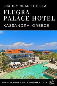Stay at the luxurious four-star Flegra Palace Hotel. It's on Kassandra Peninsula in Halkidiki Greece, known for crystal clear beaches and small towns. #greece #luxuryhotels #luxury #halkidiki #kassandra #beach #beachresorts #vacation #europe #wander #flegrahotels #seaside via @wanderwwonder