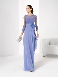 Sheath boat neck 3/4 sleeves lace lavender chiffon Homecoming dresses PHFD001