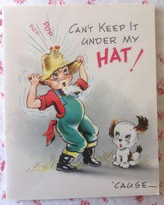 Vintage 1940's UNUSED Colorful Birthday Card ~ Farmer in Straw Hat, Puppy Dog