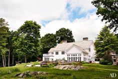 Edie Parker Home Architectural Digest  All white New England architecture