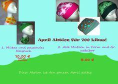 !!!!!April Aktion!!!!!    Den ganzen restlichen April gibt es alle Mützen in Form und Gr. freiwählbar zu einem Aktionspreis von 6 € oder eine Mütze...