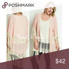 Trendy Blush Fringe Long Cardigan On trend blush cardigan featuring fringe detail. Premium quality cotton and polyester blend. Size L/XL Threads & Trends Sweaters Cardigans