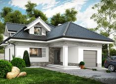 Maja - zdjęcie 2 Dormer Bungalow, Modern Bungalow House, Modern Fence Design, Self Build Houses, Architectural House Plans, Three Bedroom House, Facade House, Design Case, Dream Rooms