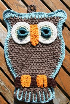 crochet owl potholders: Andrea I will have to try and make these!!
