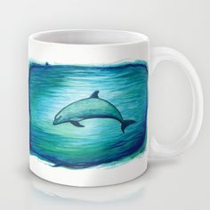 Watercolor dolphin painting • Art by wildlife artist Amber Marine ••• AmberMarineArt.com •••