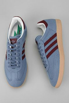 Claret and blue Sambas, pity they are canvas and not suede...