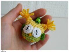 Yellow Green Crochet Keychain Amigurumi Owl Keyring, Keychain Toy, Häkeln Schlüsselanhänger Eule by Etilinki on Etsy