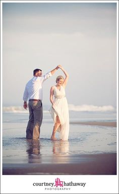 You'll have to have a *dance*!  :)  Outer Banks Beach Wedding Photography l Courtney Hathaway Photography