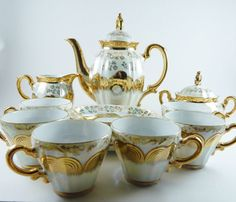 STERLING CHINA Japan 17 Piece Tea Set Gold Overlay Opalescent Flowered