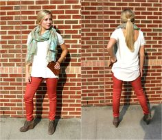 Colored jeans, booties and a scarf are the perfect fall transition outfit