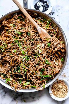 Good-luck foods for new year: Sesame soba noodles from Foodie Crush Asian Side Dishes, Asia Food, Vegetarian Recipes, Healthy Recipes, Delicious Recipes, Easy Recipes, Pasta, Asian Recipes, Asian Noodle Recipes