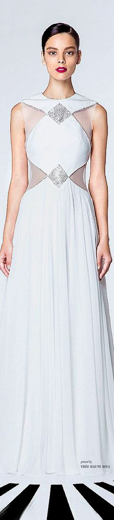 Georges Hobeika Spring Summer 2015  ♔ White and Silver Ball Gown