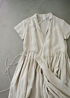 linen wrap dress wit
