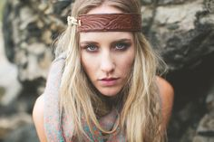 Leather Headband Bohemian Head Wrap in Brown Vintage Leather Headband Hair Bands for Women Up-Cycled Leather on Etsy, $38.00