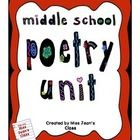 This Middle School Poetry Unit covers the following concepts and skills: Definition of poetry,detailed explanation and examples of rhythm and rhyme, types of poetry (narrative, ballads) and lyric (haiku, cinquain, limerick, sonnet, free verse, blank verse) - including a Ballad Writing Assignment with assessment criteria, a  Poetry Assignment with assessment criteria, figures of speech - quiz with answer key #English, #language arts, #poetry, #middle school, #writing, #creative writing