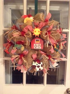 Farm themed wreath going to SC that I just finished for a classroom door. Farm themed wreath going to SC that I just finished for a classroom door. Deco Mesh Wreaths, Baby Wreaths, Barn Wood Crafts, Diy Wreath, Wreath Ideas, Cowboys Wreath, Farm Birthday, Farm Theme, Classroom Door