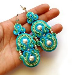 SALE BOLLYWOOD Statement long earrings soutache by SaboDesign