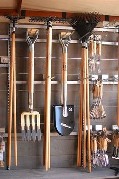 Organize your garden tools: Potting Shed . - Organize your garden tools: Potting Shed … – # Garden equipment organize - Storage Shed Organization, Garage Tool Storage, Garage Tools, Storage Ideas, Lumber Storage, Shed Design, Storage Design, Yard Tools, Tool Rack