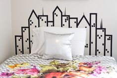 DIY Headboard make it all black with yellow windows and a bat signal