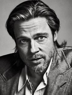 ♂ Black and white man portrait face of Brad Pitt. S) #photography
