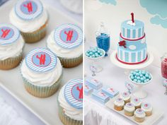 Vintage airplane party from Style My Table #desserttable #airplaneparty #party #parties #cake #cupcakes