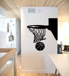 Basketball Wall Stickers Vinyl Black Sport Gym Murals Art Decals Wallpaper  Study Room Living Home Decor Basketball Hoop
