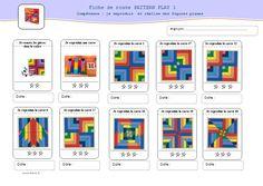 """pour travailler la compétence """"reproduire une figure plane"""" avec un magnifique jeu """"pattern play""""/pattern play worksheets"""