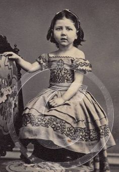 Pretty Civil War Era Girl in Off Shoulder Crinoline Dress Seated on Ornate Chair | eBay