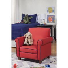 Shop for HomePop Juvenile Club Chair. Get free delivery On EVERYTHING* Overstock - Your Online Furniture Outlet Store! Get in rewards with Club O! Wooden Patio Chairs, Wooden Office Chair, Toddler Furniture, Toddler Chair, Red Accent Chair, Accent Chairs, Living Room Playroom, Kids Rooms, Leather Recliner Chair