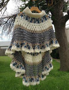Circular Asymmetric Long Poncho Shawl Crochet by ToppyToppyKnits  ( pay pattern )