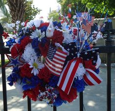 Memorial Day 4Th Of July New Beautiful Wreath Silk Flowers Wall Decoration American Flag