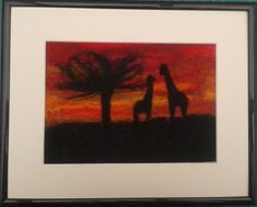 """Felted Picture """"Giraffes in Sunset"""" £10.00"""