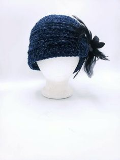 Navy Velvet Charleston Hat with silver sparkles and black flower/feather removable clip by OhanaBoutiqueCrochet on Etsy White Hibiscus, Faux Fur Pom Pom, Ohana, Red Lipsticks, Silver Glitter, Charleston, White Flowers, Simple Designs, Sparkles