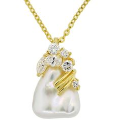 Estate Henry Dunay Pearl & Diamond 18k Yellow Gold Pendant Necklace