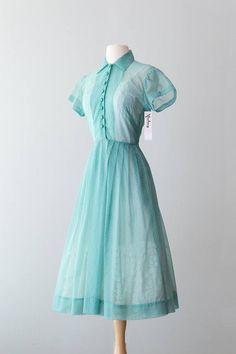 Vintage 1950s Dress 50s Lovely Sheer Green Swiss Polka Dot