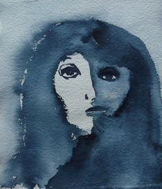 """""""Blue Lady"""" by Sirkkaliisa Virtanen, watercolor Watercolor, Movie Posters, Painting, Art, Poster"""