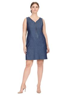 Zip Front Denim Dres