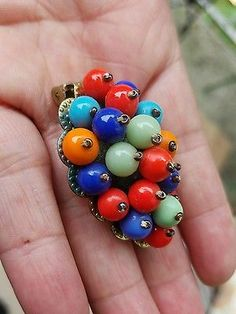 Estate WWII Miriam Haskell Unsigned Colorful Glass Balls Fur Clip Brooch