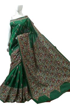 Craftsmen of India - Kantha embroidery, Kantha Sarees, Kantha Work sarees, Nokshi kantha Saree, Shop online saree, gujrati kantha work saree