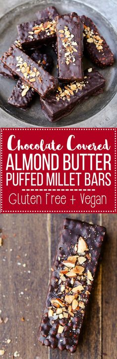 These easy no-bake Chocolate Covered Almond Butter Puffed Millet Bars are the perfect breakfast treat or snack! This gluten free, refined sugar free, and vegan recipe has only seven ingredients.