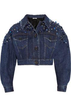 MIU MIU Embellished cropped denim jacket